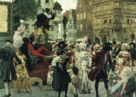 Густав Климт. Клоун на ярмарочной сцене (Роспись для Бургтеатра, Вена)