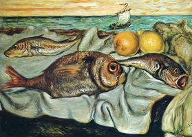 Джорджо де Кирико. Натюрморт с рыбой и лимоном