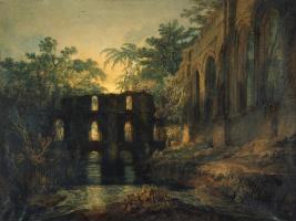 Общая спальня и трансепта Фаунтинского аббатства. Вечер