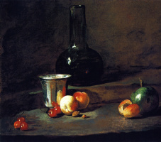 Still life with a bottle of wine, the Cup, peaches, apricots, cherries pear