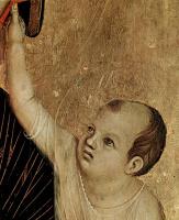 Дуччо ди Буонинсенья. Мадонна ди Креволе, сцена: Мадонна на престоле и два ангела, деталь: Младенец Христос, Мадонна церкви Санта Сесилия в Креволе