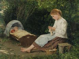 Альберт Анкер. Вязальщица присматривает за младенцем в люльке