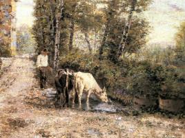 Эухенио Зампиги. Коровы на водопое в тихом бассейне