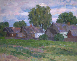 Boris Petrovich Zakharov. In the evening in the village of Repihovo. Etude.