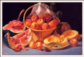 Фрэнсис Джон Вубурд. Натюрморт с дынями, персиками и виноградом