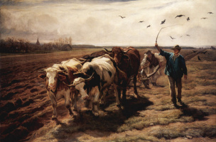 Rudolph Koller. Plowing with oxen