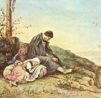 Адриан Людвиг Рихтер. Отдых у придорожного распятия