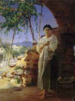 Николай Николаевич Ге. Мать при похоронах своего ребенка. Из окрестностей Неаполя
