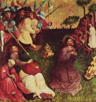 Ханс Мульчер. Алтарь Страстей из Вурцаха, левая внутренняя створка, сцена вверху. Христос на Масличной горе