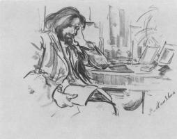 Филипп Андреевич Малявин. Портрет скульптора В.А. Беклемишева. Набросок.
