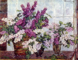 Lilac, crystal vase and basket