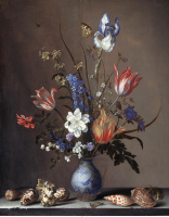Балтазар ван дер Аст. Цветы в вазе Ван-Ли и раковины