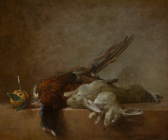 Jean Baptiste Simeon Chardin. Still life with game: rabbits and pheasant
