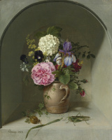 Johann Wilhelm Prairie. Flowers in a clay jug in a niche with a grasshopper. 1829