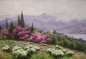 Joseph Evstafievich Krachkovsky. Spring in Crimea (Yalta. Iudino tree in bloom). State Russian Museum, St. Petersburg