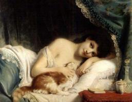 Фриц Зубер-Бюлер. Заплаканная красавица и её кот