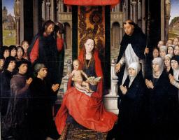 Ганс Мемлинг. Мария с младенцем, со Святым Иаковом и Святым Домиником