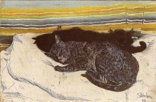 Теофиль-Александр Стейнлен. Две кошки на белой подушке