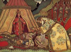 "Ivan Yakovlevich Bilibin. Tsar Dadon before Shamahanskaya Queen. Illustration for ""the Tale of the Golden Cockerel"" A. S. Pushkin"