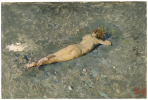 Mariano Fortuni-i-Carbo. Nude boy on the beach at Portici