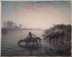 Jean-François Millet. Sunset. Peasant with horses at a watering place