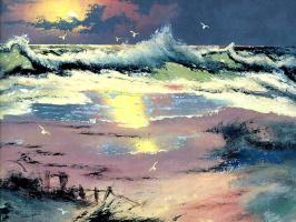 Вилли Дэниелс. Морской пейзаж на закате