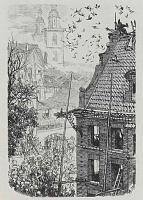 """Адольф фон Менцель. Иллюстрация к сочинению Бертольда Ауэрбаха """"Слесарь из Виттенберга""""[10], К ужасу собравшихся Слесарь падает с крыши"""