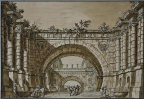 Джузеппе Валериани. Перспектива с двумя арками и фигурами на переднем плане