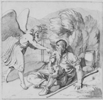 Иоганн Фридрих Овербек. Ангел будит пророка Илию под кустом можжевельника