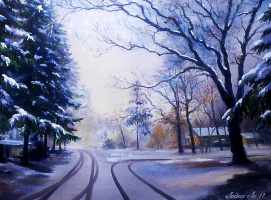 Лидия Ли. Картина Свежие следы на снегу
