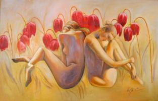 Alexander Pavlovich Kurganov. Girls in flowers