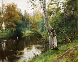 Андрей Николаевич Шильдер. Лесной пейзаж с рекой