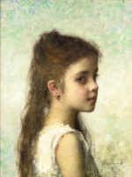 Алексей Алексеевич Харламов Россия 1840 - 1923. Девочка на голубом фоне.
