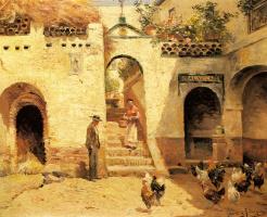 Мануэль Гарсия Родригес. Кормление птиц во дворе