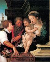 Бернард ван Орлей. Дева с младенцем и цветы