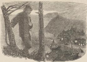 """Arthur Hughes. """"Enoch Arden"""". Evening bay"""