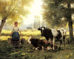 Жюльен Дюпре. Доярка с ее коровами в летний день