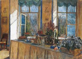 Станислав Юлианович Жуковский. Праздник весны II (Пасхальный стол у окна. Вторая версия)