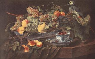 Ян Фейт. Натюрморт с фруктами и попугаем
