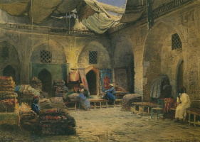 Konstantin Makovsky. Carpet shop in Cairo