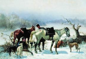 Николай Егорович Сверчков. Отдых охотника. 1865