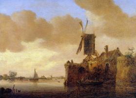 Ян ван Гойен. Речной пейзаж.
