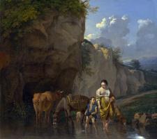Карел Дюжарден. Женщина и мальчик с животными