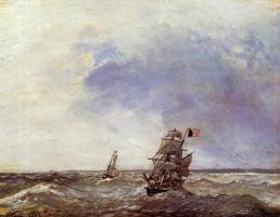 Ян Бартолд Йонгкинд. Корабли в море