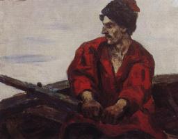 Василий Иванович Суриков. Гребец в лодке