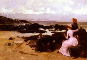 Эрнест Анж Дуез. Женщина с детьми на пляже