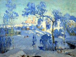 Константин Иванович Горбатов. Зимний пейзаж с церковью