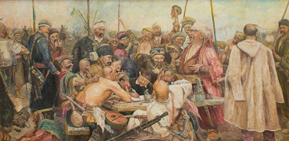 Oh A Stasevich. IE Repin Cossacks writing letter to Turkish Sultan