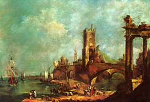 Francesco Guardi. Capriccio: covered walkway in front of the city fortress
