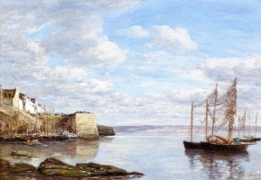 Eugene Boudin. Brittany,beach and port